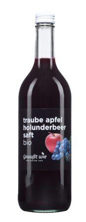 Bio trió szőlő-alma-bodzalé - ,,Gewusst wie''- bio - 100% gyümölcs, hozzáadott cukor nélkül -750 ml